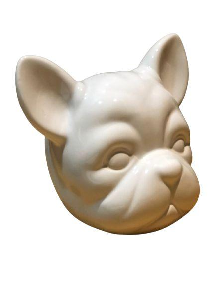 Cofre Cabeça De Bulldog de Cerâmica - Branco