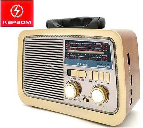 Radio Portatil Kapbum AM/FM/USB/AUX KA-3188
