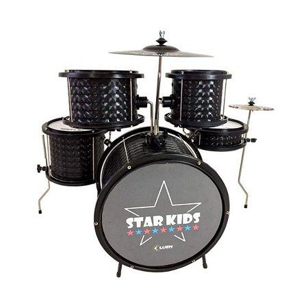 Bateria Musical Infantil LUEN STAR KIDS PRETO