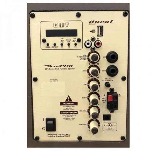 CAIXA AMPLIFICADA ONEAL OCM-2910B c/bat.  120w rms