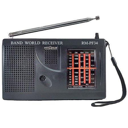 Rádio Portátil 5 faixas(FM+OM+3OC) - RM-PF34