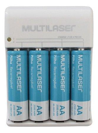Kit Carregador De Pilhas Multilaser Aa/Aaa + 4 Pilhas Aa 2500Mah - CB054
