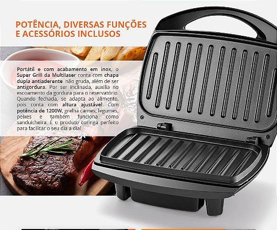 Sanduicheira Multilaser Super Grill Inox 127V 1200W Antiaderente Preta - CE11