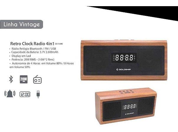 Caixa De Som Goldship Bluetooth com Rádio Relógio CX-1490