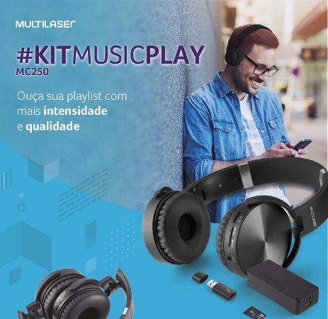 Kit Music Play Headphone Bluetooth SD/AUX/FM + Power Bank 4000 mAh + Leitor USB + Micro SD 32GB C10 - MC250