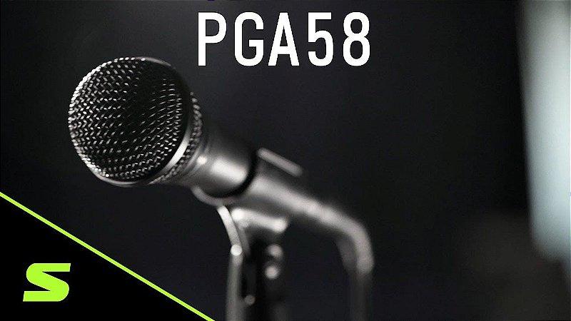Shure - Microfone Vocal Dinâmico Com Pedestal PGA58 BTS