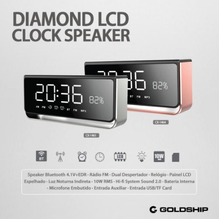Rádio Relógio Diamond Clock Speaker CX-1464 Rose / CX-1461 Silver - Goldship
