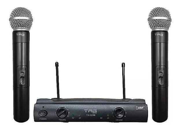 Microfone Tag Sound TM-559B Duplo  Mão Preto Sem Fio