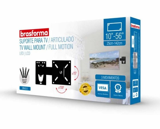 Suporte Brasforma  P/TV LCD BRA3.0 Articulado 10''- 56''
