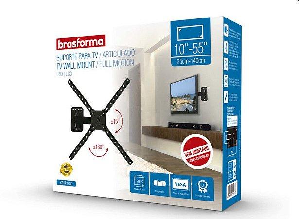 "Suporte ARTICULADO para TV LED, LCD de 10"" a 55"" – Brasforma SBRP 1030"
