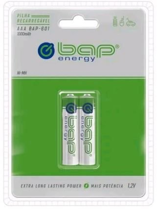 Pilha recarregável BAP ENERGY AAA 1000 mAh 2 unidades