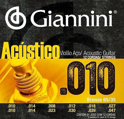 Encordoamento p / Violão 12 cordas Aço Giannini GESWA12
