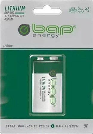 Bateria 9V BAP recarregável lithium    450mAh