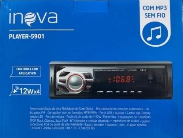 Rádio Automotivo Inova  BT/USB/SD/AUX 4x12W Player-5901