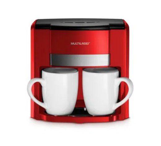 Cafeteira Multilaser 02 Xícaras 127V 2 Xícaras + Colher Dosadora + Filtro Permanente Vermelha BE015