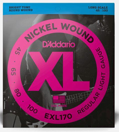 Encordoamento p/ Contra Baixo 4 cordas D'addário XL 045 EXL170