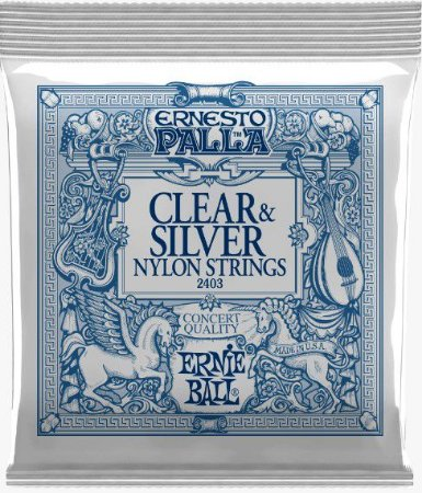 Encordoamento p/ Violão Ernie Ball Nylon Tensão Média Clear & Silver Ernesto Palla  2403