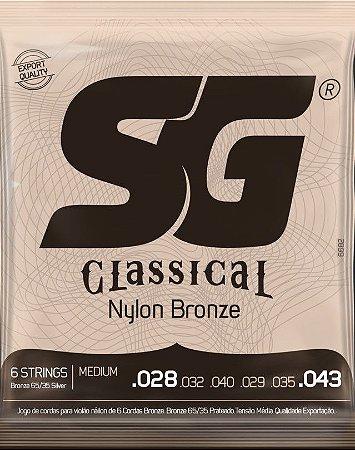 Encordoamento p/ Violão Nylon Bronze SG Classical Tensão Média  6682
