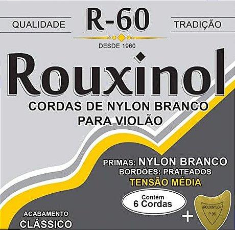 Encordoamento p/ Violão Nylon Branco Rouxinol Tensão Média R-60