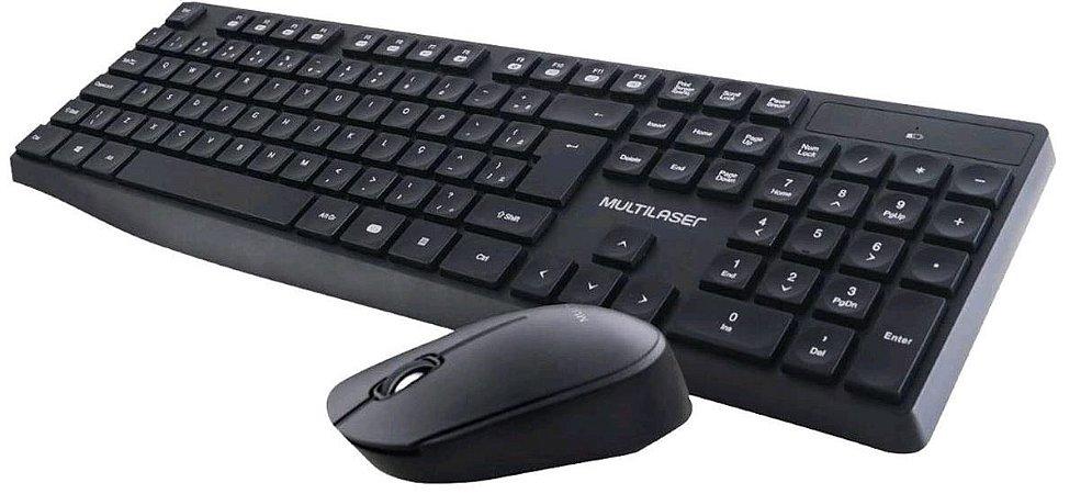 Teclado e Mouse Sem Fio Multilaser 2.4 GHZ USB Preto - TC244