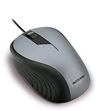 Mouse Emborrachado Cinza E Preto Com Fio MO225