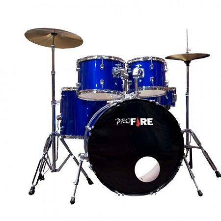 """BATERIA MUSICAL PRO FIRE 20"""" Vinho/Azul"""