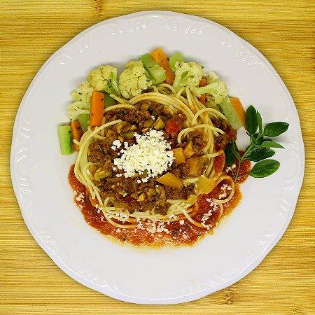 Espaguete ao molho bolonhesa (vegetariano)