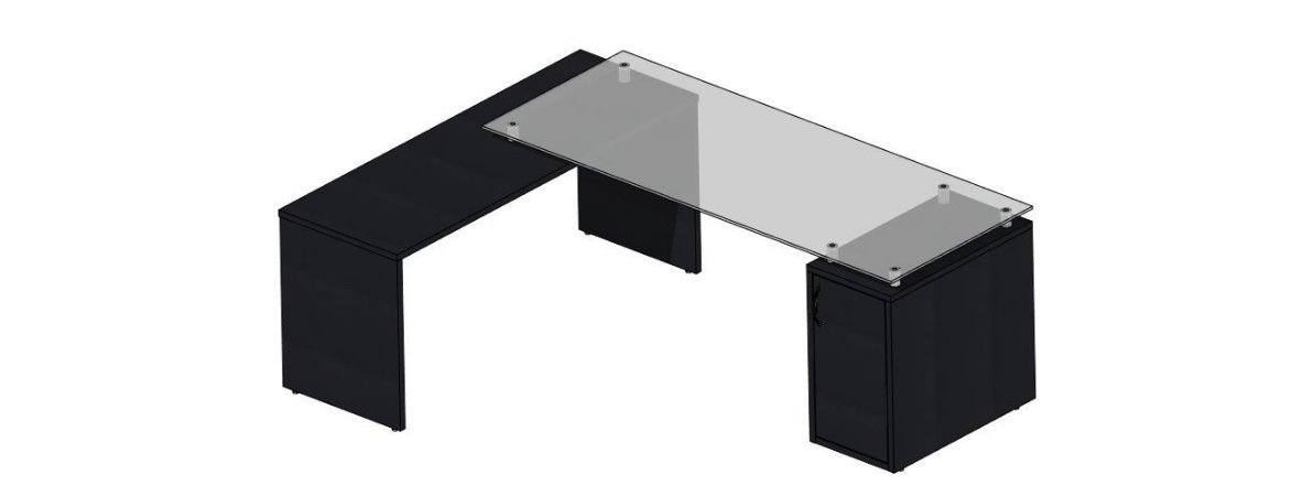 Mesa em L diretor preta com tampo de vidro e balcão com uma porta na cor preta!