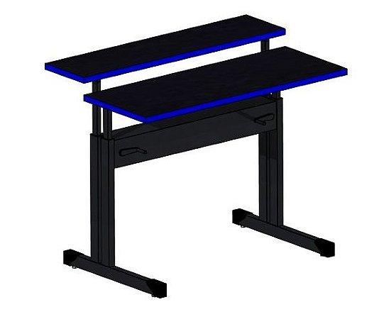 Mesa ergonômica com dois  tampos em 25mm com regulagem de altura para trabalhar em pé ou sentado (gamer)