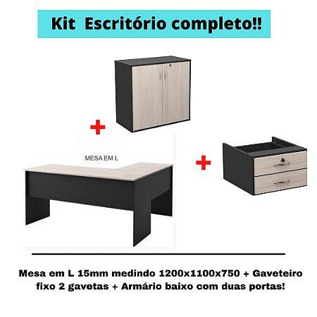 Kit  Balcão Baixo + Mesa em L + Gaveteiro fixo conforme descrição na cor Amantea \Preto