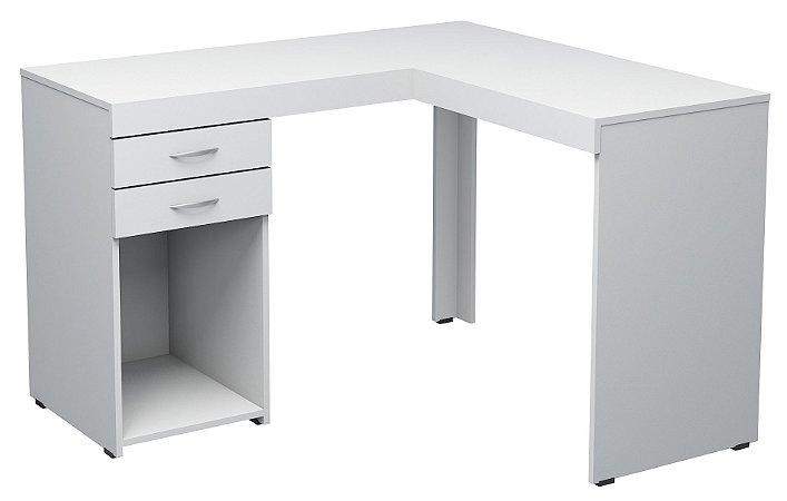 Escrivaninha em L duas gavetas e espaço aberto confeccionado em MDP marca Seara Móveis Inteligentes!