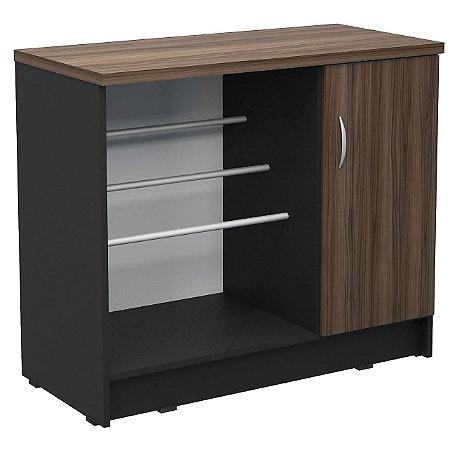 Armário baixo com porta revistas e suporte para bebedouro confeccionado em MDP , conta com suporte de revistas e porta lixeira.