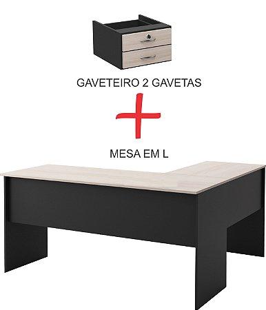 Kit mesa Basic em L com duas gavetas em MDP de 15mm Seara Móveis Inteligentes