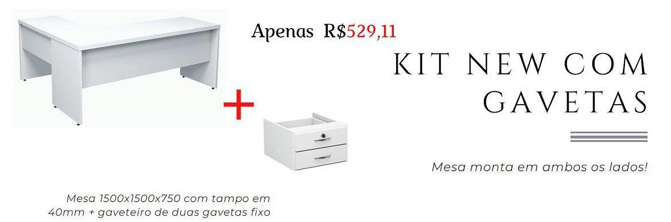kit mesa New em L com gavetas, mesa com tampo 40mm em MDP Branco