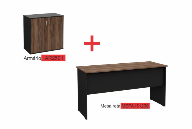 kit Home Office mesa de 1,2 metros com armário baixo de duas portas nogal\preto