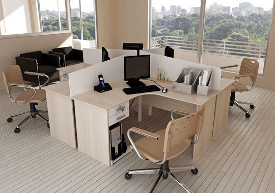 Estações de Trabalho  com 4 postos de trabalho confeccionado em MDP 15mm  com formato em ilha!