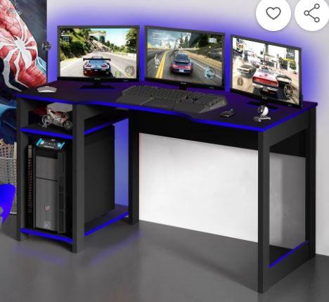 Mesa reta Gamer preta com azul
