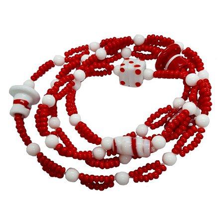 Guia Vermelha e Branca de Malandro Miçanga com Leitosa 8mm