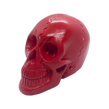 Crânio Vermelho 10cm de Gesso