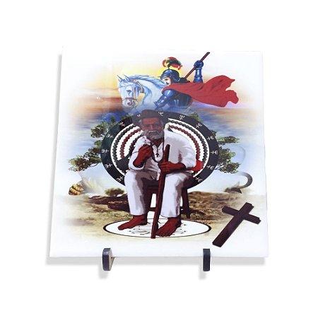 Azulejo de São Jorge e Preto Velho 20cm com Suporte