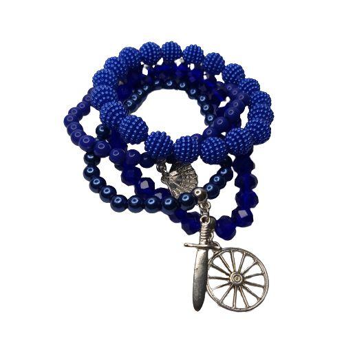 Conjunto de 4 pulseiras azul