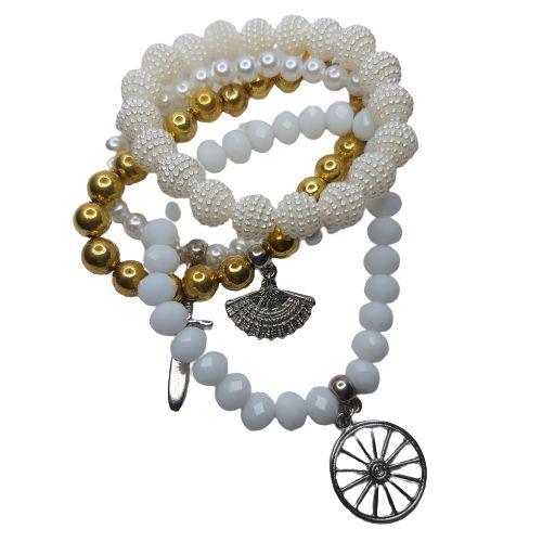 Conjunto de 4 pulseiras branco e dourado