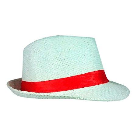 Chapéu Panamá Branco Com Fita Vermelha