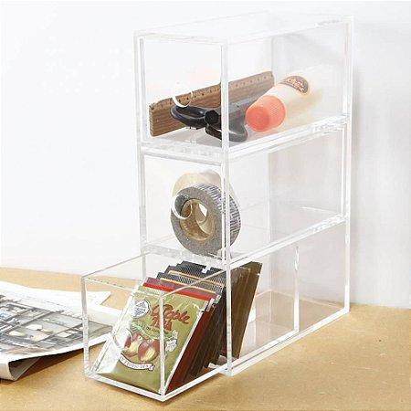Organizador vertical em acrílico Cristal  com 3 gavetas
