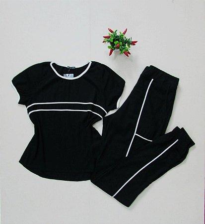 Conjunto Blusa e Calça jogger preto e branco