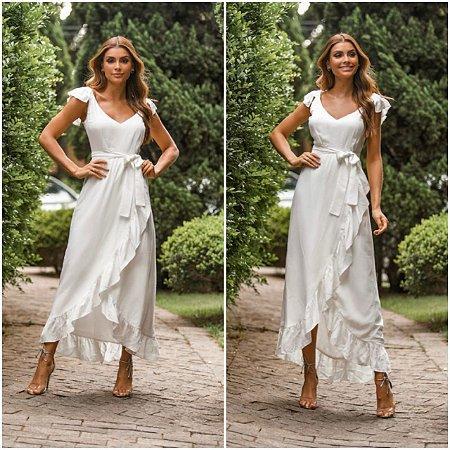 Vestido branco com risca dourada