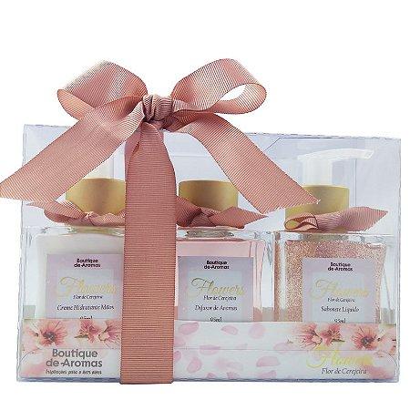 Kit Boutique de Aromas flowers mini hidratante para mãos, difusor e sabonete líquido