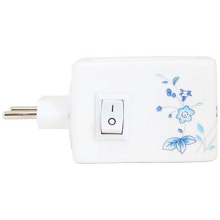 Aromatizador elétrico para ambientes cerâmico flores azuis