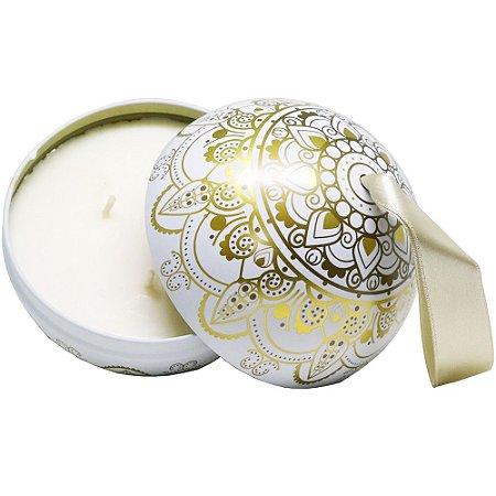 Vela perfumada Luz da Vida vanilla e chocolate bola mandala dourada 350g