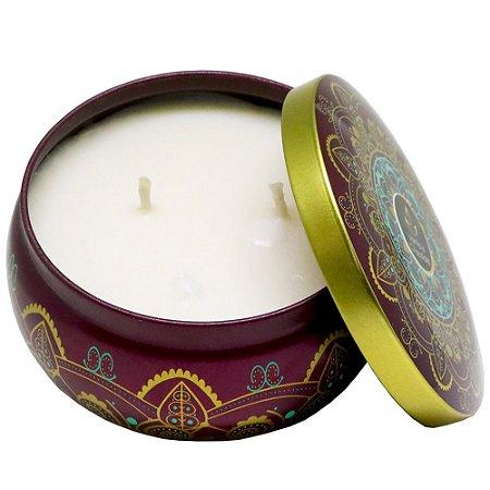 Vela perfumada Luz da Vida vanilla com chocolate mandala roxa 250g